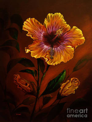 Trumpet Painting - Orange Painted Hibiscus by Zina Stromberg
