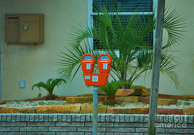 Photograph - Orange Parking Meters by Bob Sample