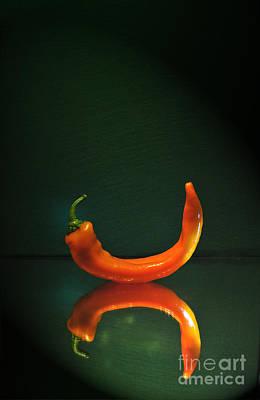 Banana Peppers Photograph - Orange Pepper by Maja Sokolowska