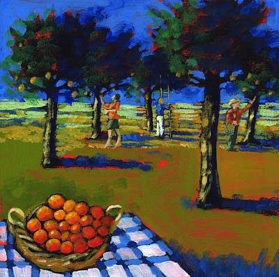 Orange Picking Art Print by Paul Powis