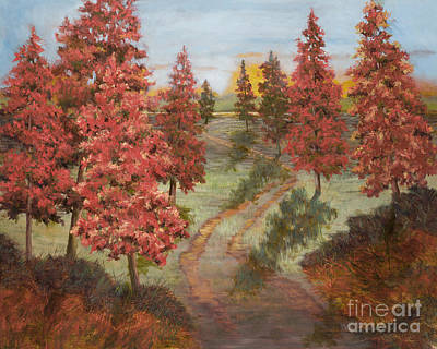 Saint Louis Artist Painting - Orange Pines by Vic  Mastis