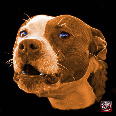 Mixed Media - Orange Pitbull Dog 7769 - Bb - Fractal Dog Art by James Ahn