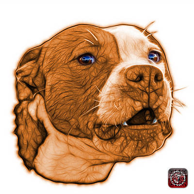 Mixed Media - Orange Pitbull Dog Art - 7769 - Wb - Fractal Dog Art by James Ahn