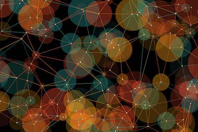 Orange Polygon Circle Pattern Art Print by Frank Ramspott