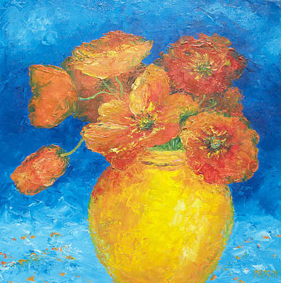 Print Of Poppy Painting - Orange Poppies In Yellow Vase by Jan Matson