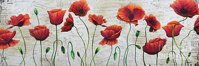 Orange Poppies Original Abstract Flower Painting By Megan Duncanson Art Print