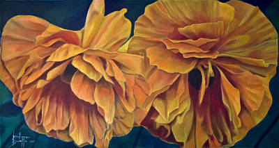 Art Print featuring the painting Orange Poppies by Ron Richard Baviello