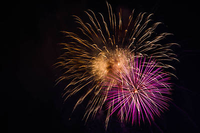 Photograph - Orange Purple Fireworks Galveston by Jason Brow