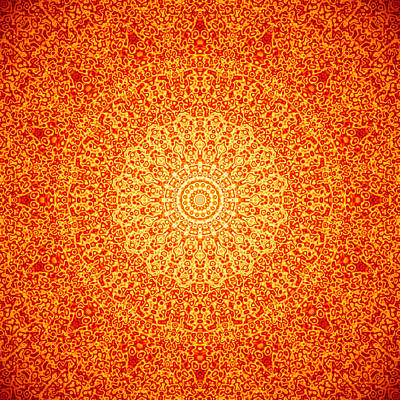 Digital Wall Art - Digital Art - Orange Quasicrystal by Dan Gries