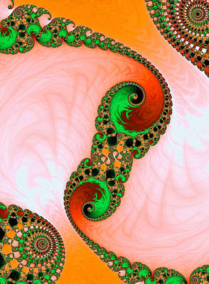 Digital Art - Orange Red And Green Abstract Fractal Art by Matthias Hauser