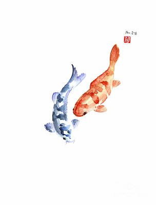 Handmade Painting - Orange Red Blue Fish Pisces Koi Carp Zodiac Ocean Animal World Water Colors Watercolors Painting by Johana Szmerdt