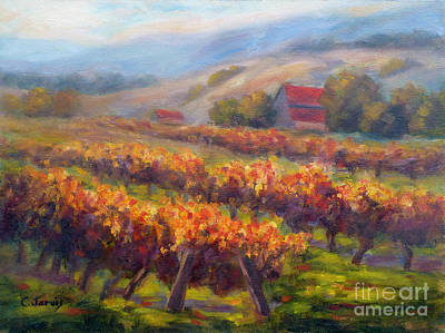 Painting - Orange Red Vines by Carolyn Jarvis