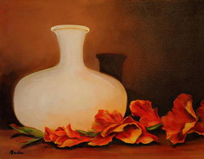 Gladiolas Painting - Orange Reflections by Anne Barberi