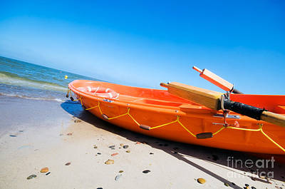Lifesaver Photograph - Orange Rescue Boat  by Michal Bednarek