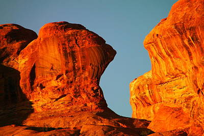 Sun Soaked Photograph - Orange Rock Foreground A Blue Sky by Jeff Swan
