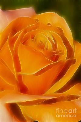 Orange Rose 6291-fractal Art Print by Gary Gingrich Galleries