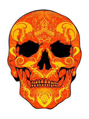 Orange Skull Art Print by Mauro Celotti