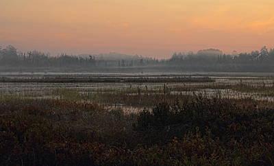 Photograph - Orange September Sunrise Over The Bog Lake by Dale Kauzlaric