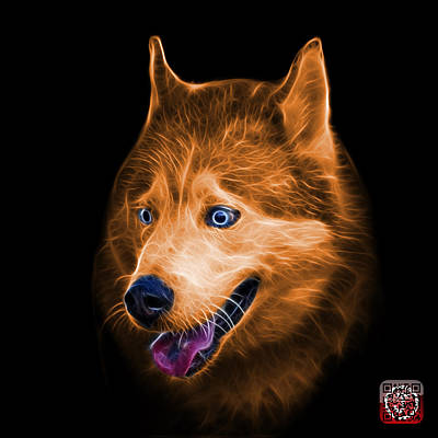 Painting - Orange Siberian Husky Dog Art - 6062 - Bb by James Ahn