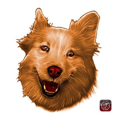 Painting - Orange Siberian Husky Mix Dog Pop Art - 5060 Wb by James Ahn