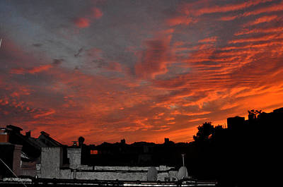 Orange Sky From Brooklyn Roof Art Print by Diane Lent