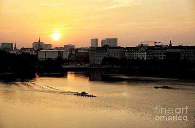 Photograph - Orange Sky In Hamburg by John Rizzuto