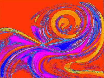 Digital Art - Orange Sky Wave  by Expressionistart studio Priscilla Batzell