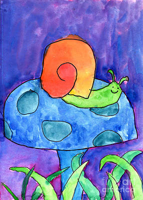 Purple Sky Painting - Orange Snail by Nick Abrams Age Twelve