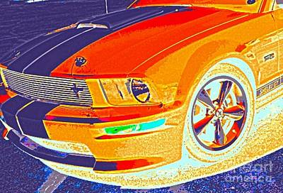 Digital Art - Orange Stang by James Eye