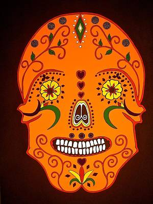 Painting - Orange Sugar Skull by Stephanie Moore
