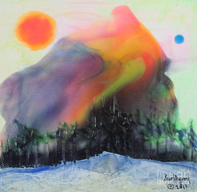 Painting - Orange Sun Blue Moon And Snow by Lew Hagood