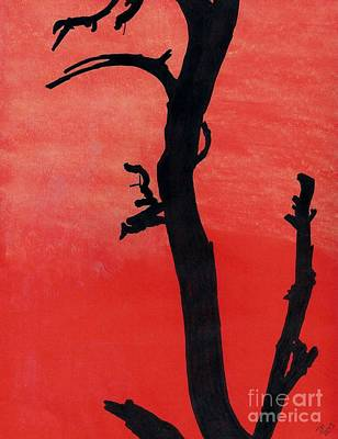 Art Print featuring the drawing Orange Sunset Silhouette Tree by D Hackett