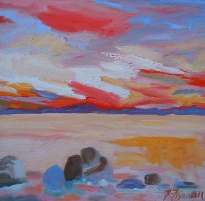 Maine Landscapes Painting - Orange Sunset by Francine Frank