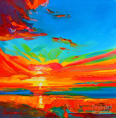 With Blue Painting - Orange Sunset Landscape by Patricia Awapara