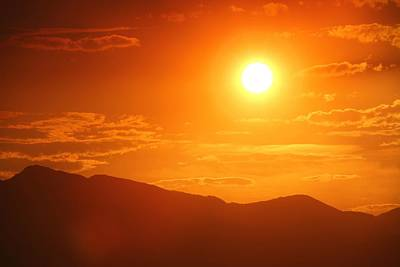 Print featuring the photograph Orange Sunset Over Mountains by Tracie Kaska