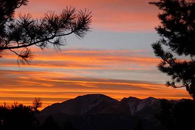 Photograph - Orange Sunset Over Pikes Peak by Marilyn Burton