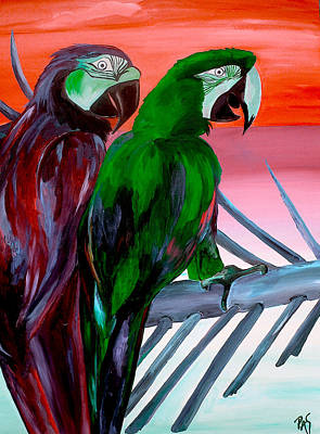 Painting - Orange Sunset Parrots by Patti Schermerhorn