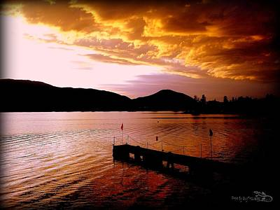 Art Print featuring the photograph Orange Sunset Skaha Lake by Guy Hoffman