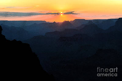 Grand Canyon Digital Art - Orange Sunset Twilight Over Silhouetted Spires In Grand Canyon National Park Fresco by Shawn O'Brien