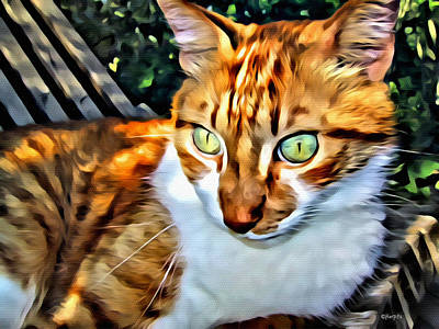 Orange Tabby Digital Art - Orange Tabby Cat Green Eyes by Rebecca Korpita