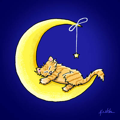 Orange Tabby Drawing - Orange Tabby Lunar Love by Kim Niles