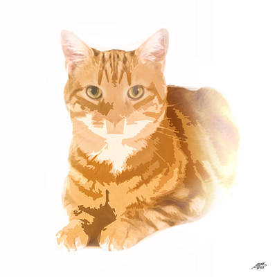 Digital Art - Orange Tabby by Steve Huang