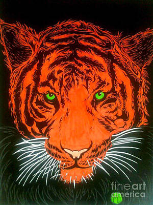 Art Print featuring the drawing Orange Tiger by Justin Moore