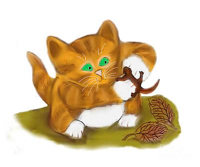 Salamanders Digital Art - Orange Tiger Kitten Has Found A Salamander by Ellen Miffitt