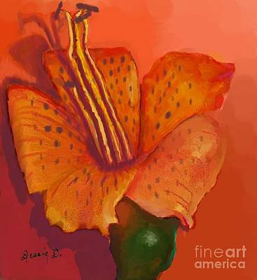 Stamen Digital Art - Orange Tiger Lily by Dessie Durham