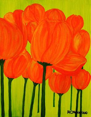 Painting - Orange Tulip Pops by Celeste Manning