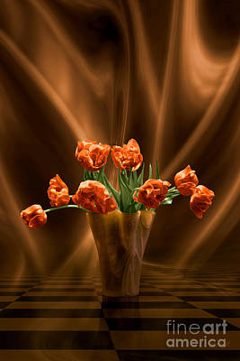 Digital Art - Orange Tulips In Floating Room by Johnny Hildingsson