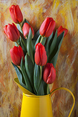 Orange Tulips In Yellow Pitcher Art Print by Garry Gay