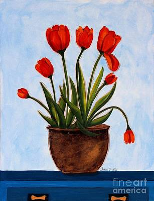 Orange Tulips On A Blue Buffet Art Print by Barbara Griffin