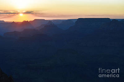 Orange Twilight Sunset Over Silhouetted Spires In Grand Canyon National Park Diffuse Glow Art Print by Shawn O'Brien